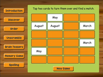 Smartboard Months of the Year Activities and Games