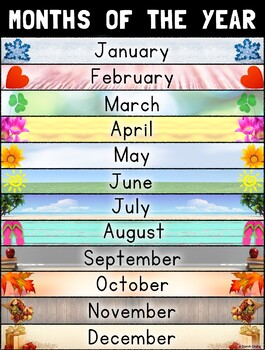 months of the year poster by bilingual classroom solutions for sife