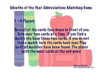Months of the Year Abbreviations Matching Game