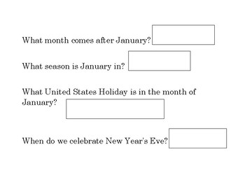 Months of the Year Adapted Work Binder