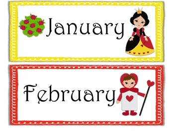 Months of the Year Alice in Wonderland Theme