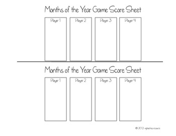Months of the Year Board Game