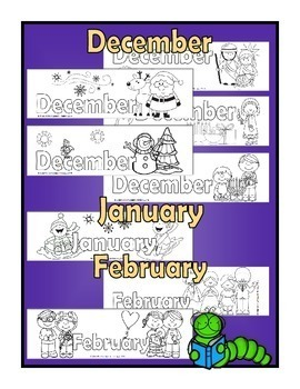 Months of the Year Bookmarks - Color  a new one each month!