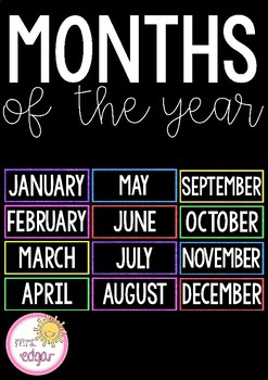Months of the Year   Bright and Bold