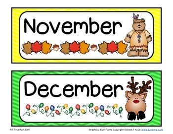 Months of the Year Bulletin Board Calendar Set