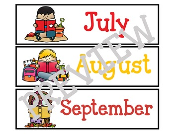 Months of the Year Calendar Cards