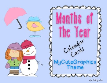 Months of the Year Calendar Cards - MyCuteGraphics Theme (Simplified Chinese)