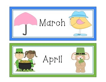 Months of the Year Calendar Cards - MyCuteGraphics Theme (English)