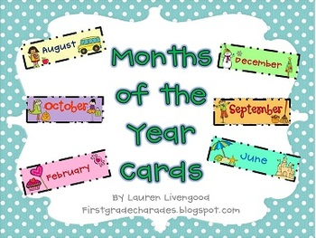 Months of the Year Calendar Cards {Freebie}