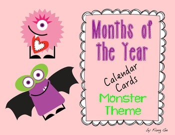 Months of the Year Calendar Cards - Monster Theme (English)