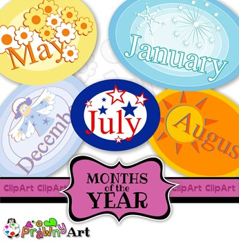 Months of the Year Calendar Clip Art Set