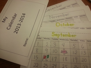 Months of the Year Calendar English Booklet C-scope Common Core
