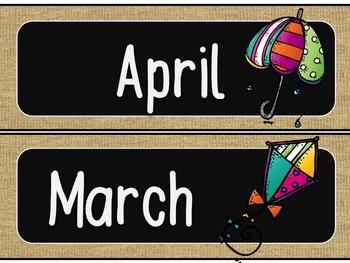 Months of the Year Calendar Headers