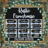 Months-of-the-Year Calendar Headers - RUSTIC FARMHOUSE Themed