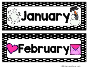 Months of the Year - Calendar Posters {Black and White Polka Dots}