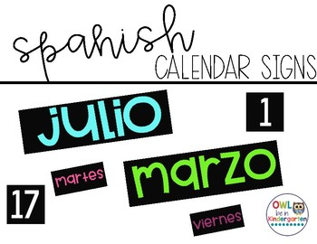 Months of the Year Calendar Signs -- Spanish