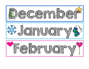Months of the Year- Calendar Strips