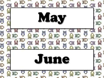 Months of the Year Calendar Strips - Owl Theme - King Virtue