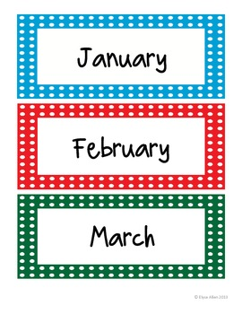 Colorful Months of the Year Cards