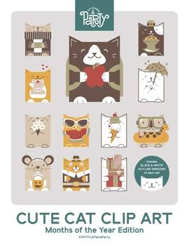 Months of the Year Cat Clip Art
