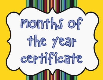 Months of the Year Certificate