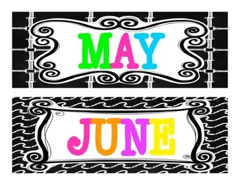 Months of the Year {Chalkboard and BRIGHTS}