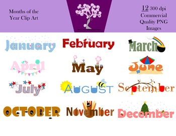Months of the Year Clip Art (12 PNG Images 300 dpi)