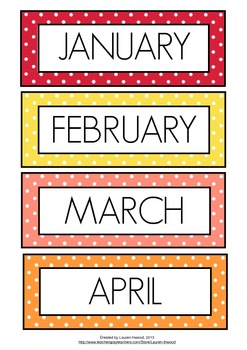 months of the year coloured polka dot by lauren luchow tpt