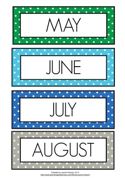 Months of the Year Coloured Polka Dot by Lauren Luchow | TpT
