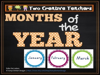 Months of the Year Coloured Scalloped Circle Theme