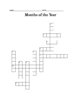 Months of the Year Crossword Puzzle