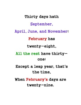 photo relating to Thirty Days Hath September Poem Printable known as Weeks of the Yr--Times within just a Thirty day period