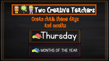 Months of the Year Days of the Week Ocean Chalkboard Theme