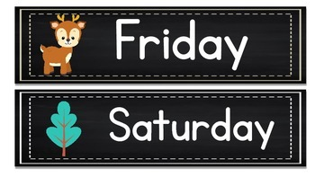 Months of the Year Days of the Week Woodland Animals & Chalkboard Theme