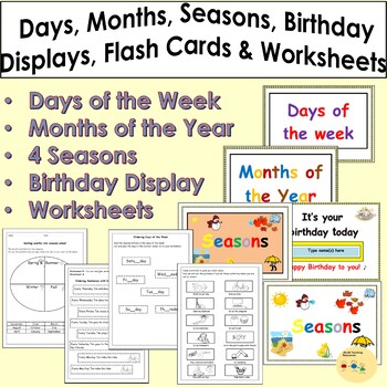 Months of the Year, Days of the week, 4 Seasons, Birthday Room Visuals