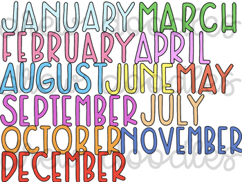 Months of the Year Digital Clip Art Set-Color & Black Line COMBO-48 Images Total