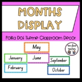 Months of the Year Display - Bright Polka Dot Theme - Foundation Font