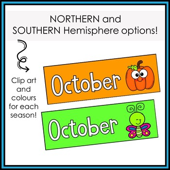 Months of the Year Labels and Display Header - Bright Colors