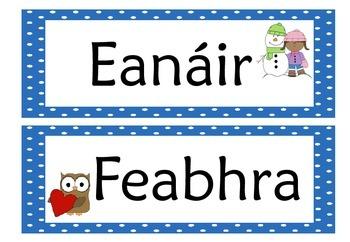 Months of the Year Flashcards (Gaeilge) in IRISH