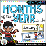 NSW Foundation Font Months of the Year Flashcards with Aus
