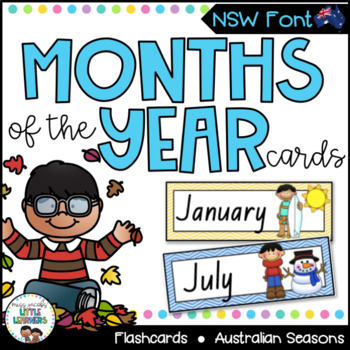 NSW Foundation Font Months of the Year Flashcards with Australian Seasons