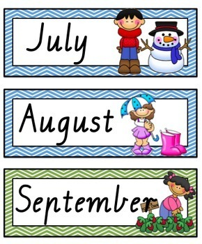 VIC Modern Cursive Font Months of the Year Flashcards with Australian  Seasons