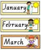 VIC Modern Cursive Font Months of the Year Flashcards with