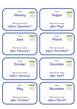 Months of the Year Follow Me Loop Cards