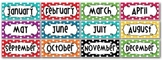 Months of the Year  Header - Rainbow Polka Dot - Word Wall - Bulletin Board