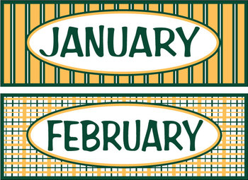 Months of the Year - Hunter Green & Gold