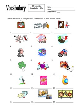 Months of the Year  IDs Worksheet for Any Language - Calendar
