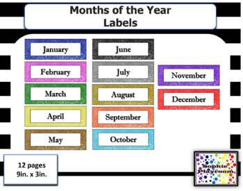 Months of the Year Labels Calendar Headers