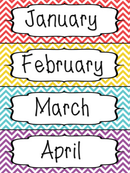 Months of the Year Calendar Labels - Chevron