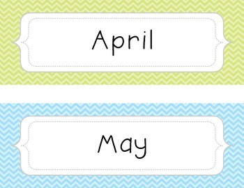 Months of the Year Labels - Pastel Chevron Set